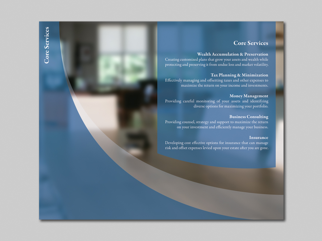 Core Services Insert for Capital Financial Marketing Kit