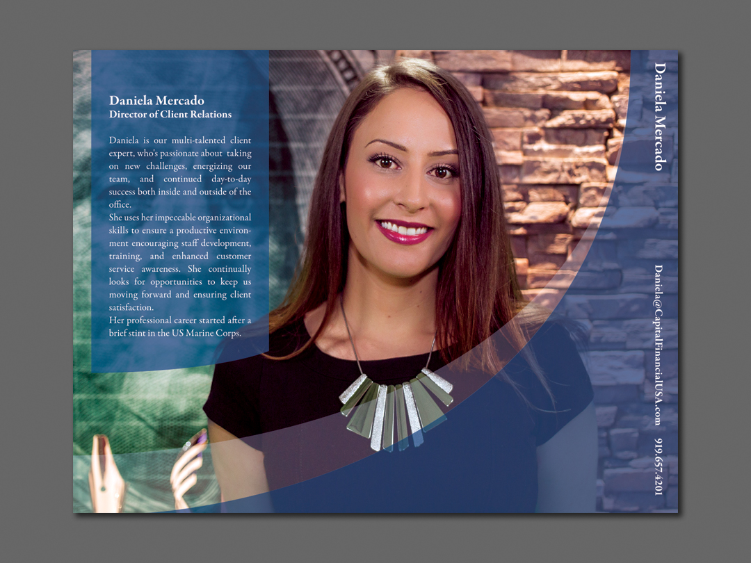 Daniela Mercado Insert for Capital Financial Marketing Kit